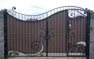 Ворота распашные металлические с калиткой – фото и варианты