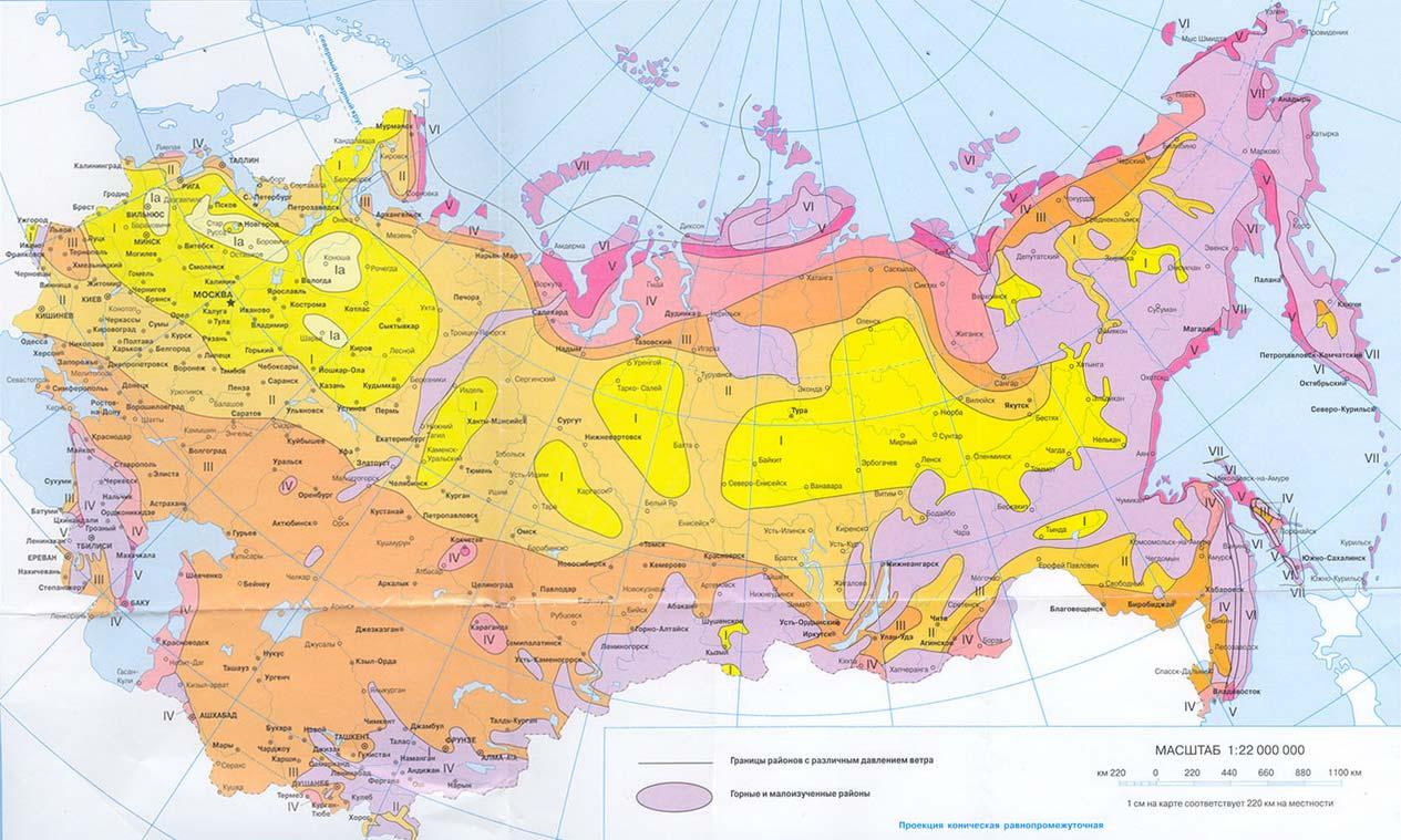 Карта ветрового давления
