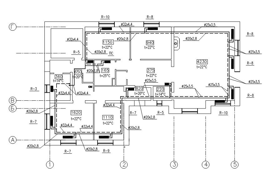 Схема отопления одноэтажного дома двухтрубная