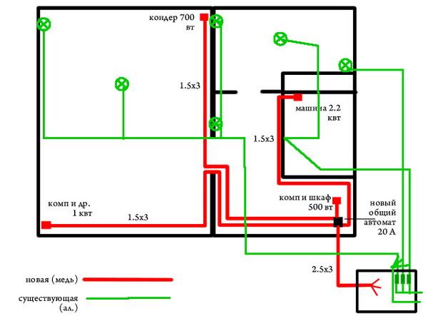 Схема проводки в панельном доме 4