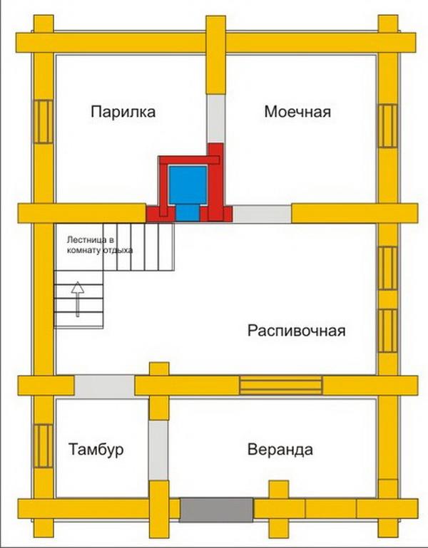 Чертежи и проекты бань из газосиликатных блоков 4
