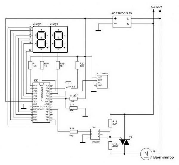 Смотрим схему управления вытяжными вентиляторами и калориферами в системе с рекуператором 2