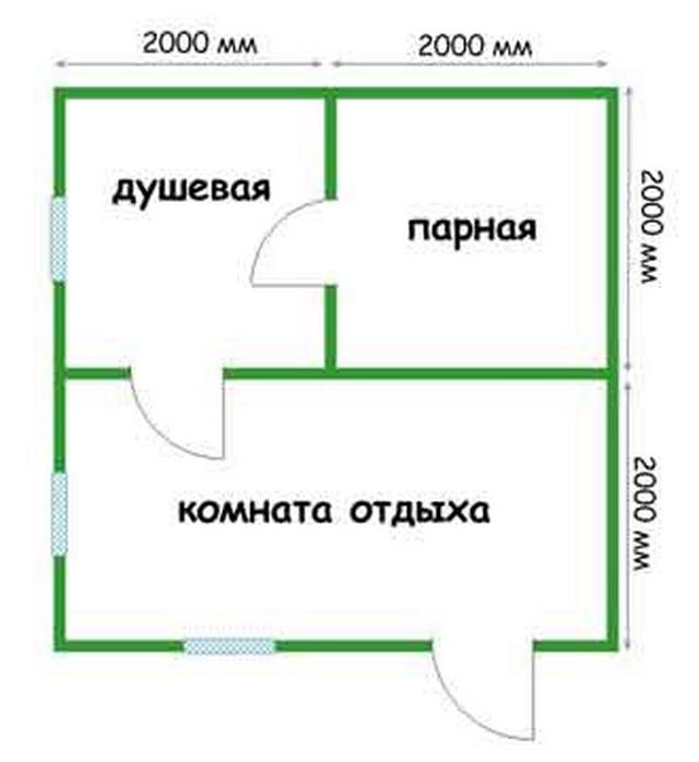 Баня 4 на 4 - планировка внутри и фото 2