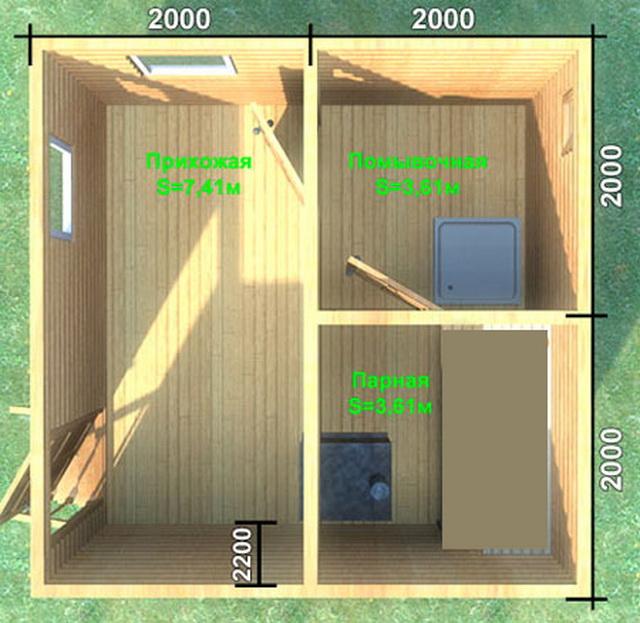 Баня 4 на 4 - планировка внутри и фото 4