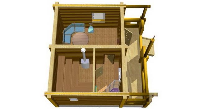 Баня 4 на 4 - планировка внутри и фото 7