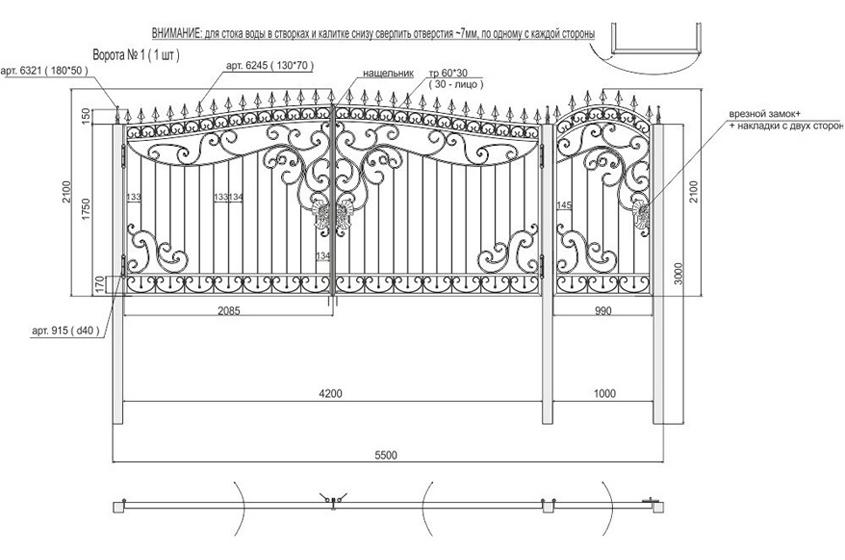 Ворота своими руками – чертежи, схемы, эскизы, конструкции 2