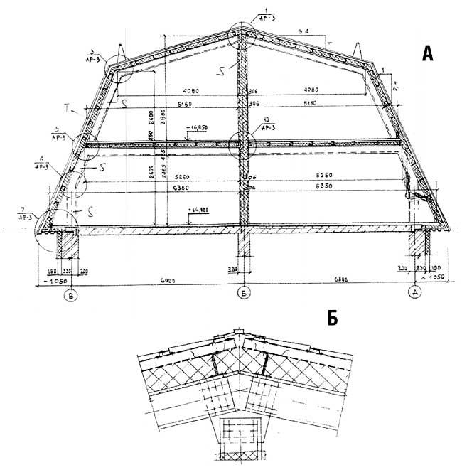 схема мансардной крыши с