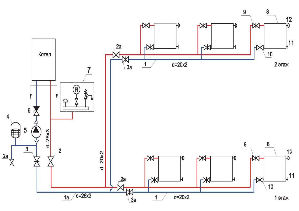Схема отопления 2 этажного дома 2