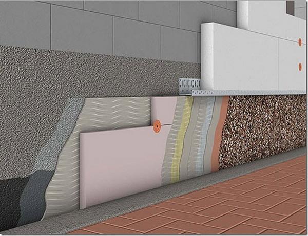 Наружное утепление фундамента дома: чертежи и схемы 5