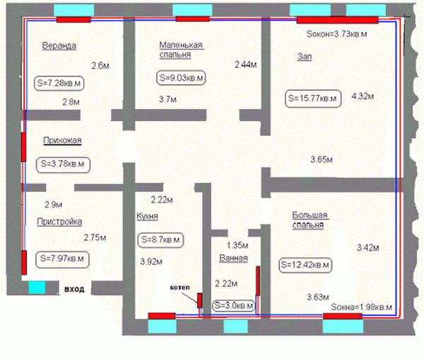 Калькулятор отопления частного дома - расчет Гкал на отопление дома 2